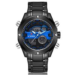 お買い得  メンズ腕時計-NAVIFORCE 男性用 ドレスウォッチ リストウォッチ 日本産 日本産クォーツ 30 m 耐水 カレンダー 2タイムゾーン ステンレス バンド アナログ/デジタル ぜいたく ファッション ブラック - Black / Red ブラック / ブルー