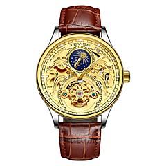 お買い得  メンズ腕時計-Tevise 男性用 機械式時計 日本産 自動巻き 30 m 耐水 夜光計 ムーンフェイズ 本革 バンド ハンズ カジュアル ファッション ブラック / ブラウン - 黒とゴールド ゴールデンブラウン