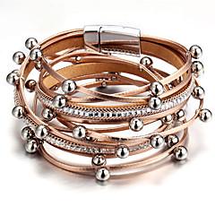 preiswerte Armbänder-Damen Mehrschichtig Bettelarmbänder Wickelarmbänder Lederarmbänder - Leder Kreativ Retro, Modisch Armbänder Rosa / Hellblau / Champagner Für Party