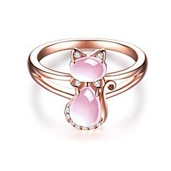 preiswerte Ringe-Damen Stilvoll Ring - Rose Gold überzogen Katze Zeichentrick 6 / 7 / 8 Rotgold Für Geschenk