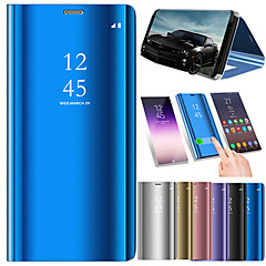 Недорогие Чехлы и кейсы для Xiaomi-Кейс для Назначение Xiaomi Redmi 6 / Redmi S2 со стендом / Покрытие / Зеркальная поверхность Чехол Однотонный Твердый Кожа PU для Redmi 6A / Redmi 6 / Xiaomi Redmi S2