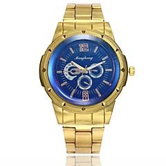 preiswerte Herrenuhren-Herrn Kleideruhr Armbanduhr Quartz Neues Design Armbanduhren für den Alltag Legierung Band Analog Freizeit Modisch Gold - Gold Weiß Blau Ein Jahr Batterielebensdauer