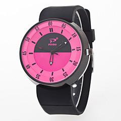 preiswerte Damenuhren-Herrn Damen Armbanduhr Quartz Kreativ Armbanduhren für den Alltag Silikon Band Analog Modisch Mehrfarbig Schwarz / Weiß - Rosa Hellblau Leicht Grün