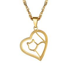 preiswerte Halsketten-Damen Anhängerketten - Edelstahl Katze, Herz Romantisch, Modisch Gold, Schwarz, Silber 55 cm Modische Halsketten Schmuck 1pc Für Geschenk, Alltag