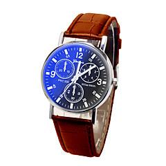 お買い得  メンズ腕時計-男性用 リストウォッチ クォーツ カジュアルウォッチ レザー バンド ハンズ ファッション ブラック / ブラウン - Black / Brown ブラック / ホワイト ホワイト / ベージュ