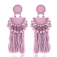 お買い得  イヤリング-女性用 タッセル / スタイリッシュ ドロップイヤリング  -  シンプル, 欧風 パープル / レッド / ピンク 用途 パーティー