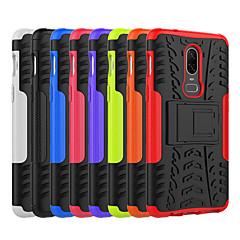 お買い得  その他のケース-ケース 用途 OnePlus OnePlus 6 / OnePlus 5T 耐衝撃 / スタンド付き バックカバー タイル柄 / 鎧 ハード PC のために OnePlus 6 / One Plus 5 / OnePlus 5T