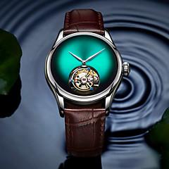 お買い得  メンズ腕時計-AngelaBOS 男性用 機械式時計 手巻き式 50 m 耐水 透かし加工 クリエイティブ 本革 バンド ハンズ ぜいたく ファッション ブラック / ブラウン - レッド グリーン ブルー / ステンレス