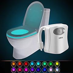 preiswerte Ausgefallene LED-Beleuchtung-hkv® 16 farbiger drahtloser menschlicher Infrarot aktivierter Bewegungssensor pir führte Toilettenlampe batteriebetriebenes Nachtlichtausgangsbadezimmer