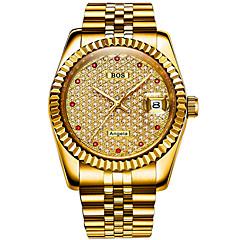 お買い得  メンズ腕時計-Angela Bos 男性用 機械式時計 日本産 自動巻き 30 m 耐水 カレンダー カジュアルウォッチ ステンレス バンド ハンズ カジュアル ファッション シルバー / ゴールド - ゴールド シルバー / 模造ダイヤモンド