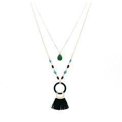 preiswerte Halsketten-Damen Grün Smaragd Quaste Layered Ketten - Holz Spitze damas, Stilvoll, Ethnisch, Elegant Dunkelgrün 43.3071 Zoll Modische Halsketten Schmuck 1pc Für Geschenk, Verabredung