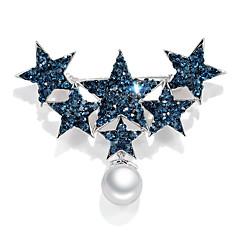 お買い得  ブローチ-女性用 キュービックジルコニア クラシック ブローチ  -  真珠, プラチナメッキ 星形 韓国語 ブローチ シルバー-ブルー 用途 日常