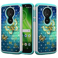 Недорогие Чехлы и кейсы для Motorola-Кейс для Назначение Motorola MOTO G6 / Moto G6 Play Защита от удара / Стразы / С узором Кейс на заднюю панель Бабочка / Стразы Твердый ПК для MOTO G6 / Moto G6 Play / Moto E5 Play