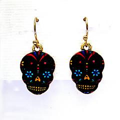 preiswerte Ohrringe-Damen Retro Tropfen-Ohrringe - vergoldet Totenkopf Europäisch Weiß / Schwarz Für Halloween
