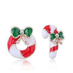 preiswerte Ohrringe-Damen Nicht übereinstimmend Ohrstecker - Donuts, Süßigkeit Europäisch, Modisch, nette Art Rot Für Weihnachten Alltag