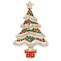 cheap Brooches-Women's 3D Brooches - Christmas Tree Unique Design, Classic Brooch Rainbow For Christmas / New Year
