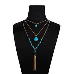preiswerte Halsketten-Damen Mehrschichtig Y Halskette - Harz Romantisch, Modisch Gold 47+5 cm Modische Halsketten Schmuck 1pc Für Alltag, Festival