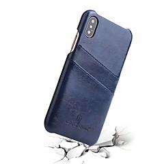 Недорогие Кейсы для iPhone-Кейс для Назначение Apple iPhone X Бумажник для карт Кейс на заднюю панель Однотонный Твердый Настоящая кожа для iPhone X