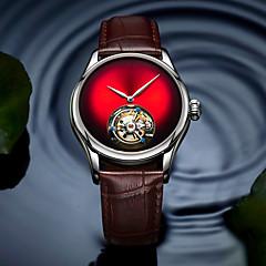お買い得  メンズ腕時計-AngelaBOS 男性用 機械式時計 手巻き式 本革 ベルト素材 ブラック / ブラウン 50 m 耐水 透かし加工 クリエイティブ ハンズ ぜいたく ファッション - レッド グリーン ブルー / ステンレス / 模造ダイヤモンド