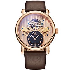 お買い得  メンズ腕時計-Angela Bos 男性用 機械式時計 自動巻き ブラウン 30 m 耐水 透かし加工 カジュアルウォッチ ハンズ カジュアル クリスマス - ホワイト ブラック 1年間 電池寿命