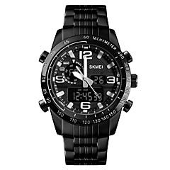 お買い得  メンズ腕時計-SKMEI 男性用 スポーツウォッチ 軍用腕時計 デジタル 30 m アラーム カレンダー クロノグラフ付き ステンレス バンド アナログ/デジタル ぜいたく ファッション ブラック - ブラック 1年間 電池寿命