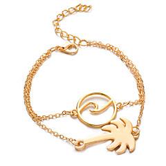 preiswerte Armbänder-Damen Doppellagig Bettelarmbänder Armband mit Anhänger - Kokosnussbaum Einfach, Böhmische Armbänder Gold / Silber Für Alltag Strasse Ausgehen