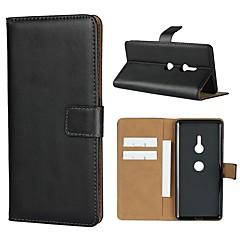 Недорогие Чехлы и кейсы для Sony-Кейс для Назначение Sony Xperia XZ2 Premium / Xperia L2 Кошелек / Бумажник для карт / со стендом Чехол Однотонный Твердый Настоящая кожа для Sony Xperia XZ2 Premium / Sony Xperia XZ3 / Xperia XZ2