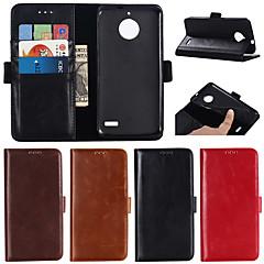 Недорогие Чехлы и кейсы для Motorola-Кейс для Назначение Motorola Moto G6 Plus / G5 Plus Кошелек / Бумажник для карт / со стендом Чехол Однотонный Твердый Настоящая кожа для MOTO G6 / Moto G6 Plus / Мото G5 Plus