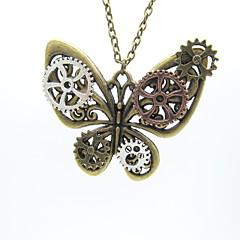 preiswerte Halsketten-Damen Statement Ketten / Vintage Halskette - Schmetterling Retro, Steampunk Cool Silber, Bronze 56+5 cm Modische Halsketten Schmuck 1pc Für Karnival, Maskerade