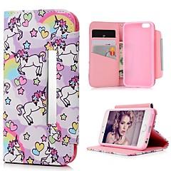 Недорогие Кейсы для iPhone-Кейс для Назначение Apple iPhone 6 / iPhone 6s Бумажник для карт / со стендом / Флип Чехол С сердцем / единорогом Твердый ТПУ для iPhone 6s / iPhone 6