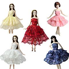 abordables Ropa para Barbies-Fiesta / Noche / Corte Cenicienta Vestidos 5 pcs por Muñeca Barbie  Tela de Encaje / Satín Vestido por Chica de muñeca de juguete