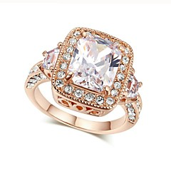cheap Rings-Women's Clear AAA Cubic Zirconia Stack Ring Promise Ring - Copper Romantic 6 / 7 / 8 / 9 Silver / Rose Gold For Engagement Gift