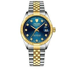 お買い得  メンズ腕時計-男性用 リストウォッチ 日本産 クォーツ 耐水 カレンダー クロノグラフ付き ステンレス バンド ハンズ ぜいたく 光沢タイプ シルバー / ゴールド - パープル レッド ブルー 2年 電池寿命