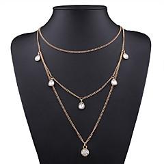 preiswerte Halsketten-Damen Kubikzirkonia Klassisch Layered Ketten - Einfach Gold 40+5 cm Modische Halsketten Schmuck 1pc Für Alltag