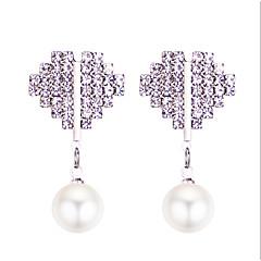 preiswerte Ohrringe-Damen Klassisch Tropfen-Ohrringe - Künstliche Perle Herz Süß, Modisch, nette Art Silber Für Normal Alltag