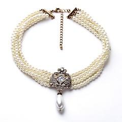 お買い得  ネックレス-女性用 レイヤード ビーズネックレス  -  人造真珠 スタイリッシュ, シンプル ホワイト 40+8 cm ネックレス ジュエリー 1個 用途 日常