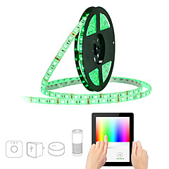 abordables Sets de Luces-JIAWEN 5 m Tiras LED Flexibles / Sets de Luces / Luces inteligentes 300 LED SMD5050 1 cable de CA / 1 adaptador de 12V 2A RGB Impermeable / Control APP / Cortable 100-240 V 1 juego