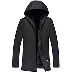 hesapli Men's Winter Coats-Erkek Günlük Uzun Kürk Mont, Solid Kapşonlu Uzun Kollu Kuzu Derisi Siyah XL / XXL / XXXL