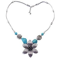 preiswerte Halsketten-Damen Türkis Retro Anhängerketten - Blume Retro Silber 43+5 cm Modische Halsketten Schmuck 1pc Für Alltag