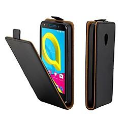 お買い得  その他のケース-ケース 用途 Alcatel アルカテルU5 4G カードホルダー / フリップ フルボディーケース ソリッド ハード PUレザー のために Alcatel U5 4G