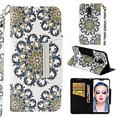 Недорогие Чехлы и кейсы для LG-Кейс для Назначение LG G7 Кошелек / Бумажник для карт / Флип Чехол Цветы Твердый Кожа PU для LG G7