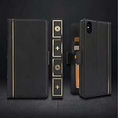 Недорогие Кейсы для iPhone 7-Кейс для Назначение Apple iPhone XR / iPhone XS Max Кошелек / Бумажник для карт / Защита от удара Чехол Однотонный Твердый Кожа PU для iPhone XS / iPhone XR / iPhone XS Max