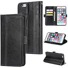 Недорогие Кейсы для iPhone-Кейс для Назначение Apple iPhone 6 Plus Кошелек / Бумажник для карт / Флип Кейс на заднюю панель Однотонный Твердый Кожа PU для iPhone 6 Plus