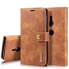 Недорогие Чехлы и кейсы для Sony-Кейс для Назначение Sony Xperia XZ1 / Xperia XZ2 Бумажник для карт / Защита от удара / со стендом Чехол Однотонный Твердый Настоящая кожа для Xperia XZ2 / Xperia XZ2 Compact / Sony Xperia XZ3