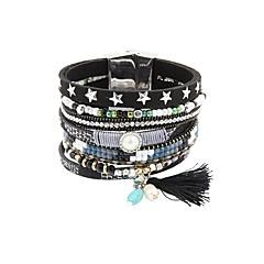 preiswerte Armbänder-Damen Glasperlen Lederarmbänder - Retro Armbänder Schmuck Schwarz / Gelb / Blau Für Geschenk Alltag