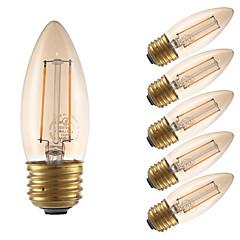 お買い得  LED 電球-GMY® 6本 2 W 160 lm E26 / E27 フィラメントタイプLED電球 B10 2 LEDビーズ COB 装飾用 アンバー 120 V