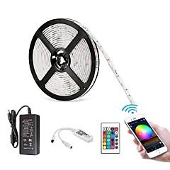 お買い得  LED ストリングライト-ZDM® 5m ライトセット 300 LED SMD5050 1 12V 6Aアダプタ / 1 24キーリモコン RGB 防水 / APPコントロール / カット可能 100-240 V / 12 V 1セット