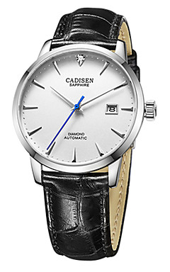 cheap -CADISEN Men's Fashion Watch Dress Watch Japanese Automatic self-winding Genuine Leather Black / Brown 50 m Water Resistant / Waterproof Calendar / date / day Casual Watch Analog Classic Fashion