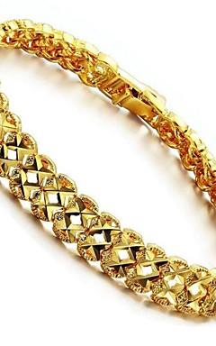 رخيصةأون -أساور السلسلة والوصلة هندسي موضة مطلية بالذهب عيار 18 مجوهرات سوار ذهبي من أجل هدية مناسب للبس اليومي