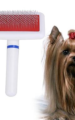رخيصةأون -كلاب حيوانات أليفة فرش الاستمالة التنظيف بلاستيك أمشاط تدليك قابل للغسيل أبيض 1